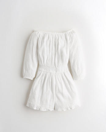 홀리스터 Hollister Smocked-Waist Off-The-Shoulder Romper