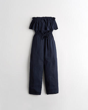 홀리스터 Hollister Strapless Crop Wide-Leg Jumpsuit