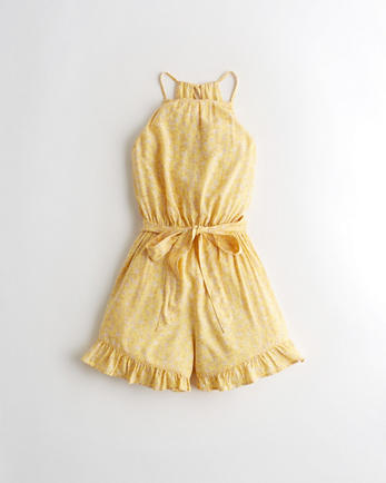홀리스터 Hollister High-Neck Belted Romper,YELLOW FLORAL