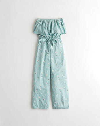 홀리스터 Hollister Strapless Crop Wide-Leg Jumpsuit,MINT FLORAL
