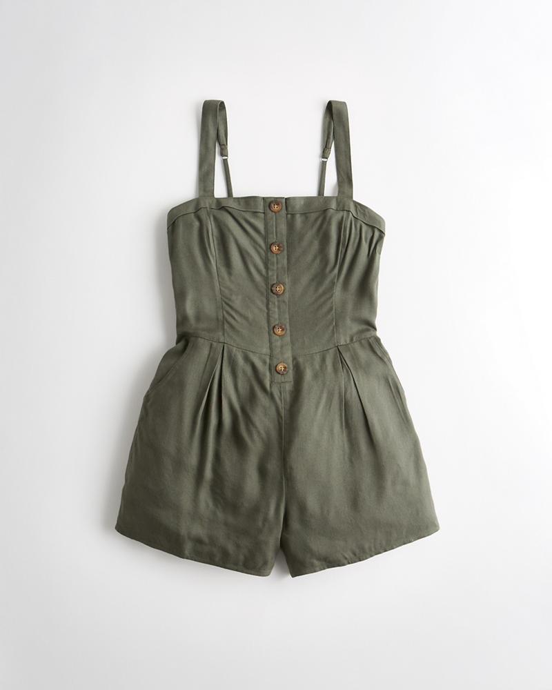 5709ab84b6f Girls Button-Front Romper