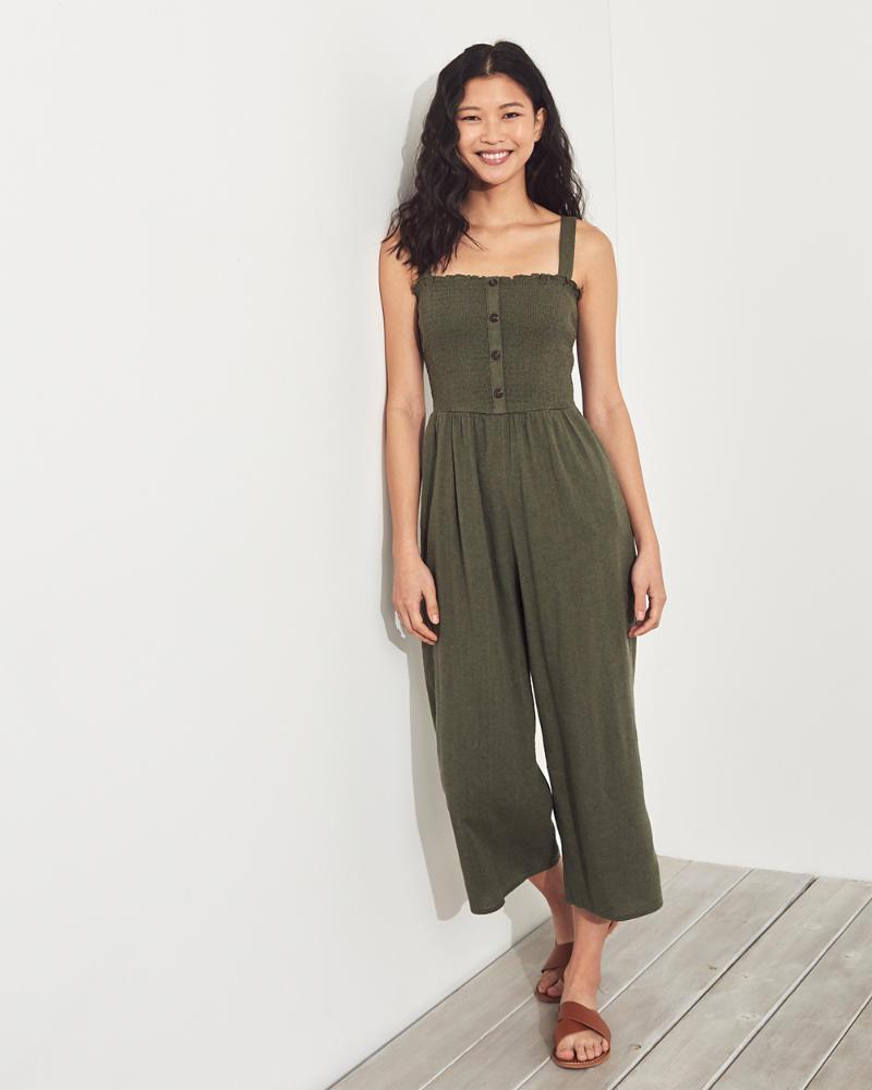 416b2ccdcd3363 Girls Crop Wide-Leg Linen-Blend Jumpsuit | Girls Sale | HollisterCo.com