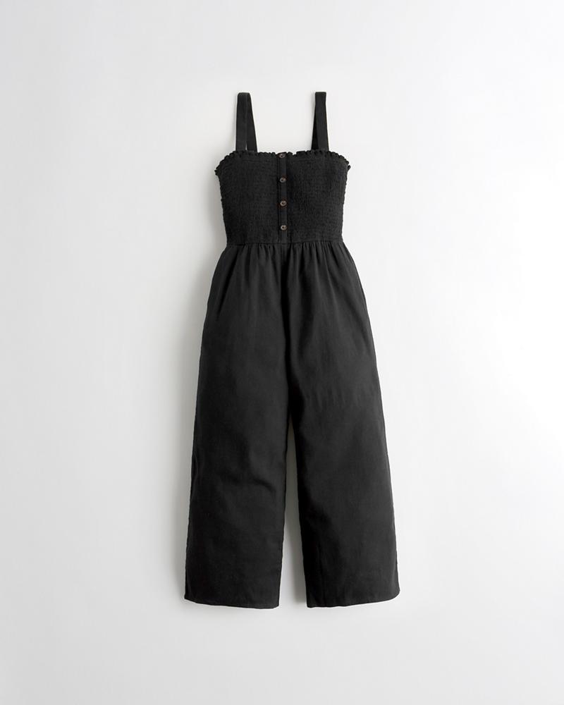 b9cc31a6850 Girls Crop Wide-Leg Linen-Blend Jumpsuit
