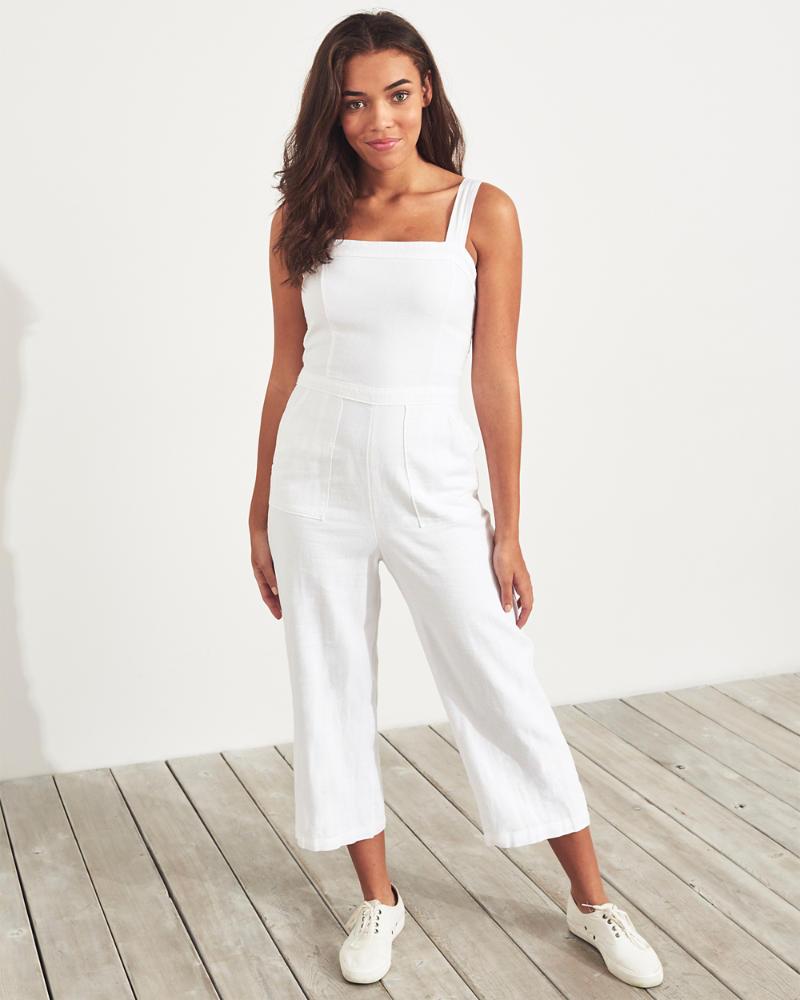 a586800e51dc24 Girls Linen-Blend Crop Wide-Leg Jumpsuit | Girls New Arrivals ...