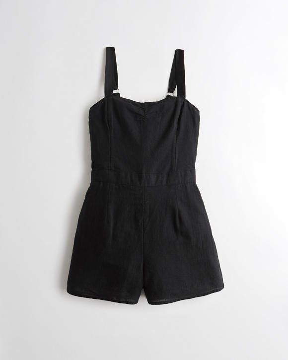 Linen Blend Romper by Hollister