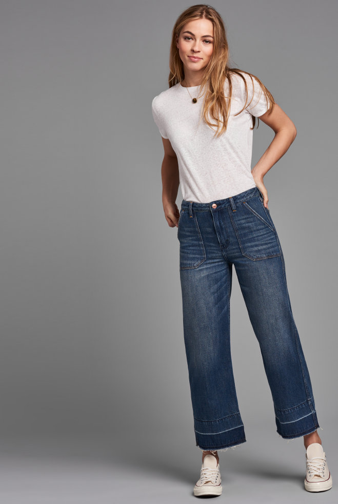 Womens Cropped Stovepipe Wide Leg Jean