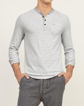 Mens Muscle Fit Striped Henley
