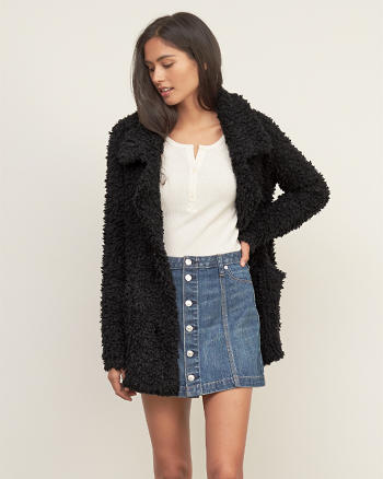 ANF Shaggy Knit Coat
