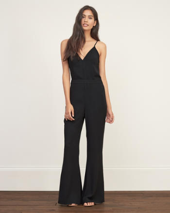 Womens V Neck Flare Jumpsuit