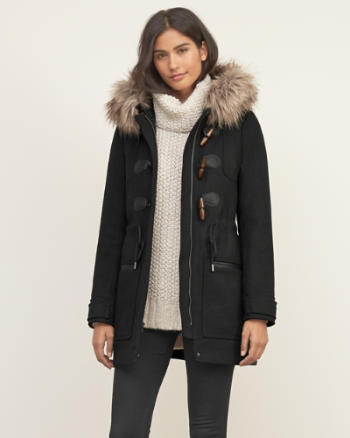 Womens Hooded Wool Duffle Jacket