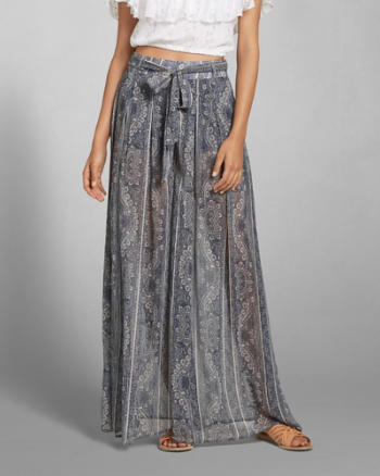 Womens Patterned Wide Leg Drapey Pants