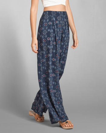 Womens Patterned Wide Leg Pants