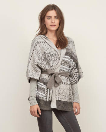 Womens Patterned Cape Sweater