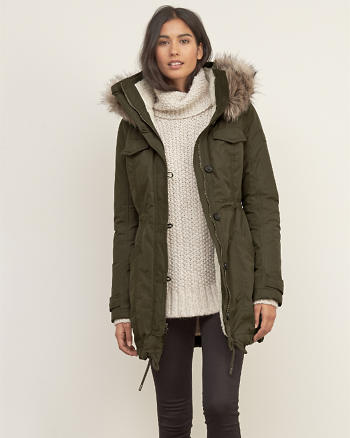 ANF A&F Sherpa Lined Military Parka
