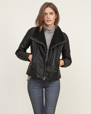 ANF Sherpa Lined Vegan Leather Jacket