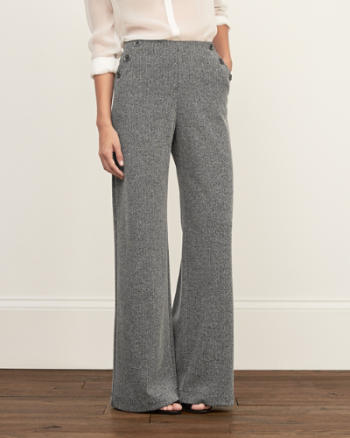 Womens Herringbone Wide Leg Pants