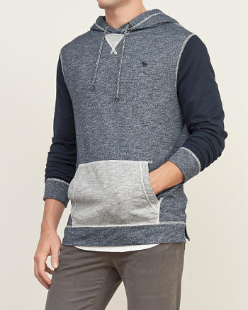 ANF Textural Knit Colorblock Hoodie