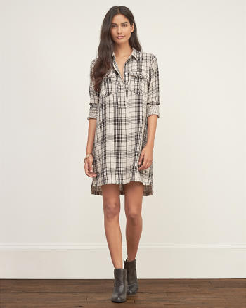 ANF Check Shirt Dress