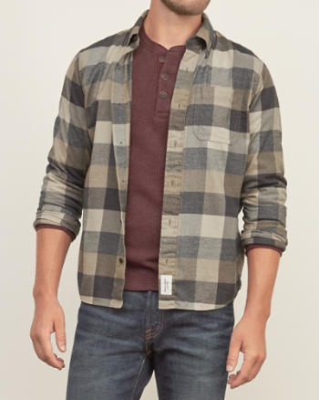 ANF Muscle Fit Plaid Pocket Shirt