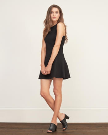 Womens Drop Waist Skater Dress