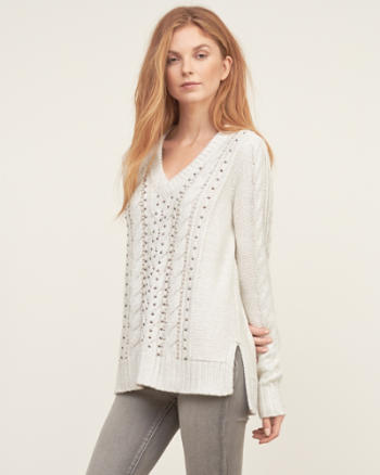 ANF Embellished Cable Sweater