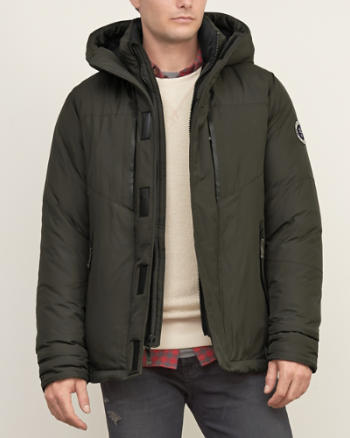 Mens A&F Down Series Hooded Puffer Jacket