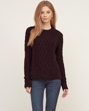 Womens Cable Crew Sweater
