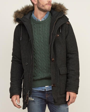 ANF A&F Hooded Wool Parka