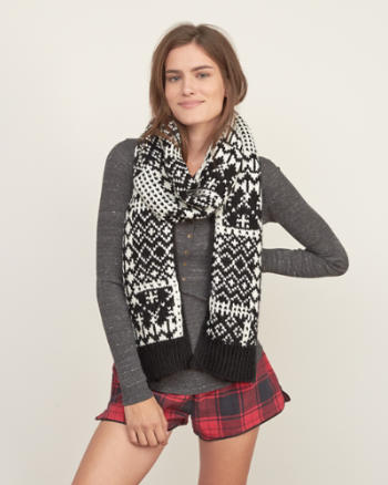Womens Patterned Knit Scarf