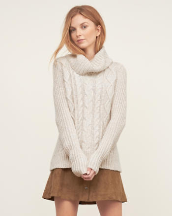 Womens Cable Turtleneck Sweater