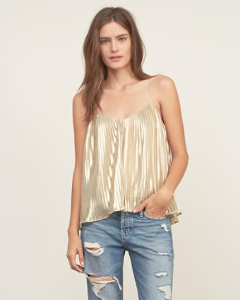 Womens Pleated Shine Cami
