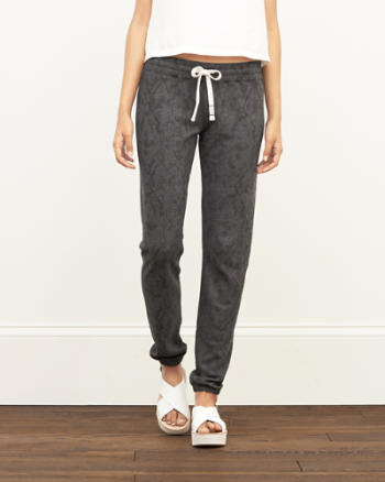 Womens A&F Patterned Banded Sweatpants