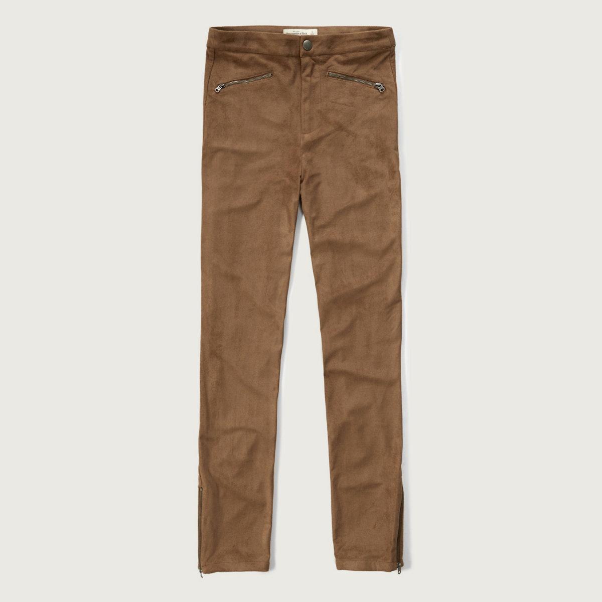 Faux Suede Zip Pants