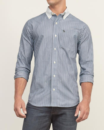 Mens Muscle Fit Striped Poplin Shirt