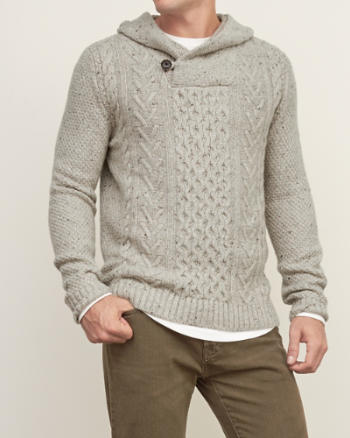 Mens Cable Henley Hoodie