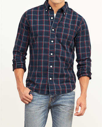 ANF Windowpane Plaid Poplin Shirt