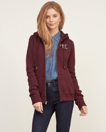 Womens Quilted Hood Full-zip Sweatshirt