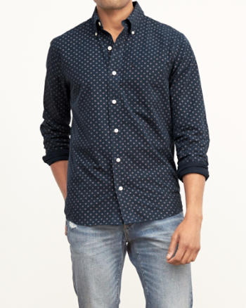 Mens Geo Print Pocket Shirt