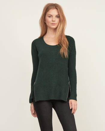 Womens Ribbed Zip Sweater