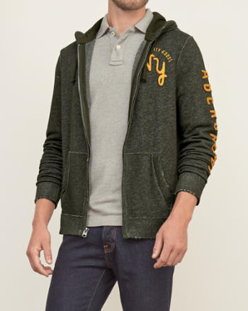 Mens Applique Logo Full Zip Hoodie