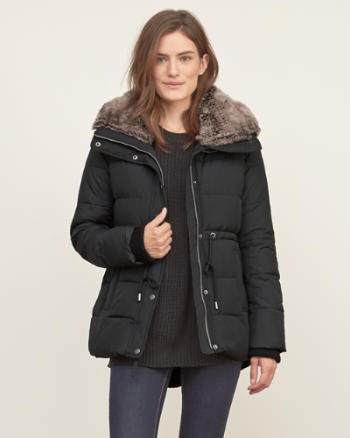 Womens Faux Fur Collar Puffer Jacket