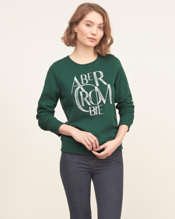 Womens Embellished Logo Graphic Sweatshirt