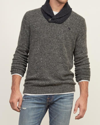 Mens Contrast Shawl Sweater