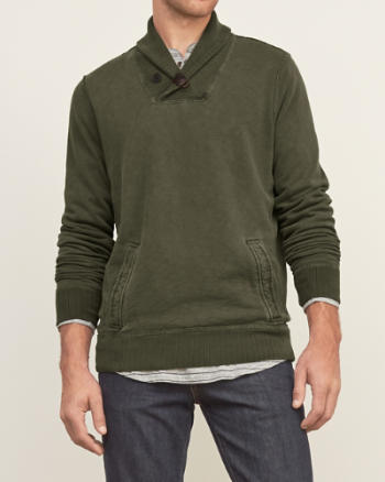 Mens Shawl Fleece Pullover