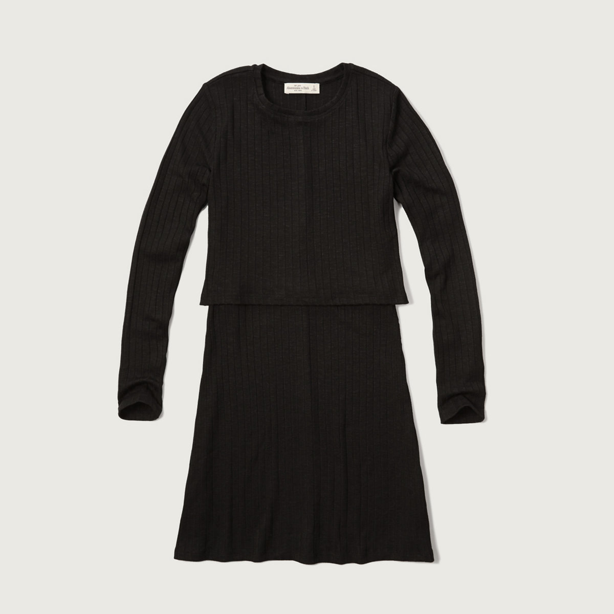 Ribbed Overlay Sweater Dress