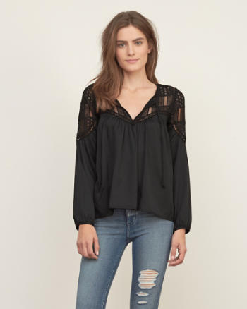 Womens Lace Panel Peasant Top