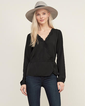 ANF Wrap Lace-trim top
