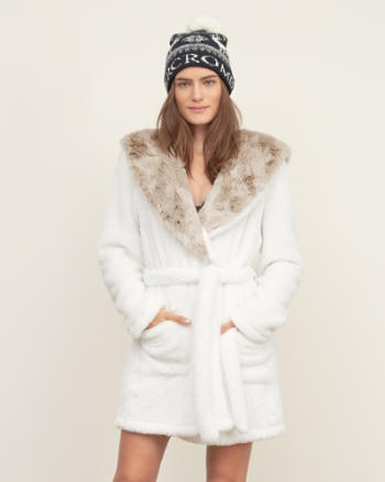 ANF Hooded Faux Fur Robe