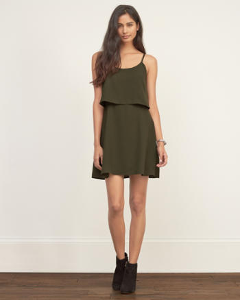 Womens Overlay Crepe Dress