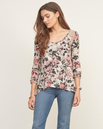 Womens Lace Panel Top